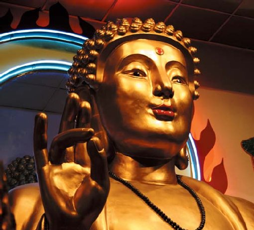 Receive the blessing of New York's largest Buddha at the Mahayana Buddhist Temple.