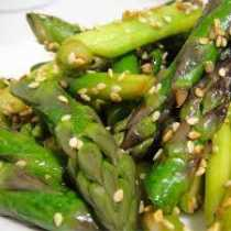 Sesame Asparagus in a Tamari Reduction