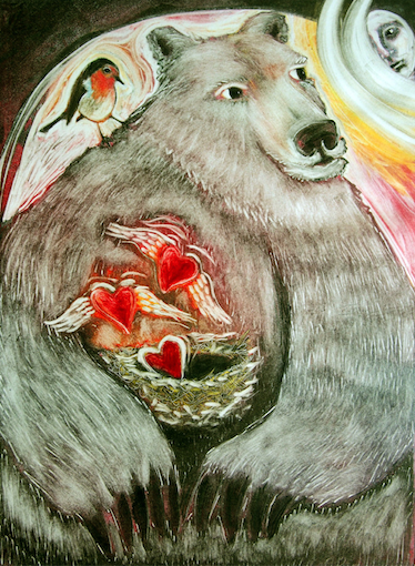 Bear with Hearts painting denise kester art love awakens